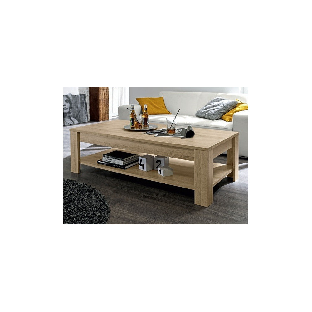Table basse de salon rustica ch ne clair prix discount - Table basse chene clair ...