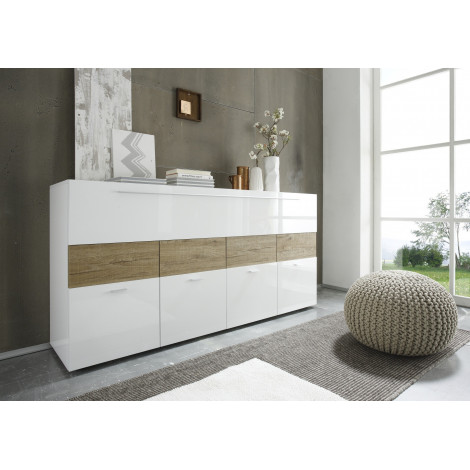 bahut bar piano blanc bandeau miel 160 cm a prix discount. Black Bedroom Furniture Sets. Home Design Ideas
