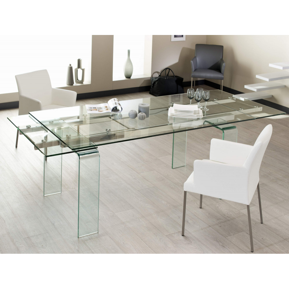 Table de salle a manger quartz verre 160 260 cm for Table de salle a manger 240 cm