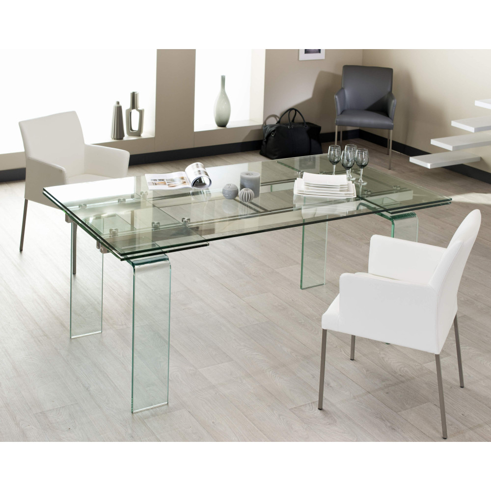 Table de salle a manger quartz verre 160 260 cm for Salle a manger table