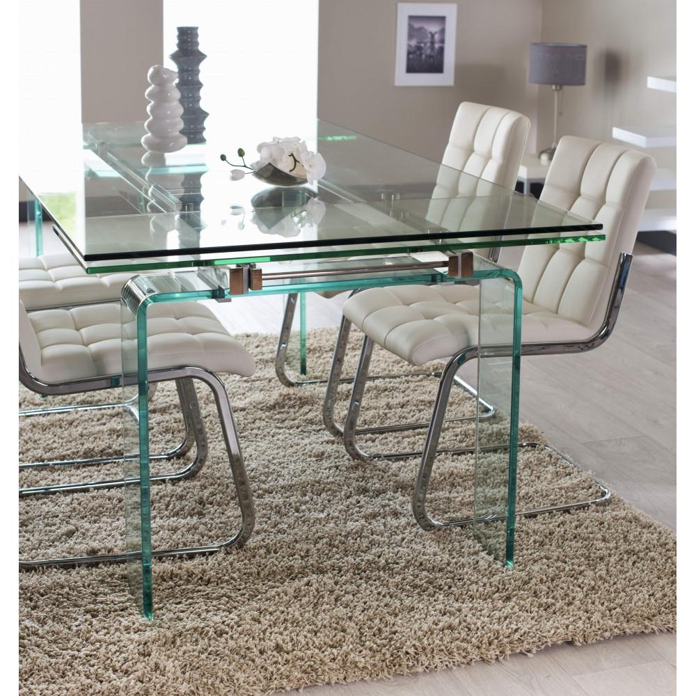 Table de salle a manger quartz verre 160 260 cm for Salle a manger quartz