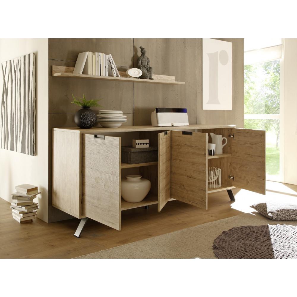 bahut bas palma 4 portes ch ne clair 4 pieds m tal. Black Bedroom Furniture Sets. Home Design Ideas