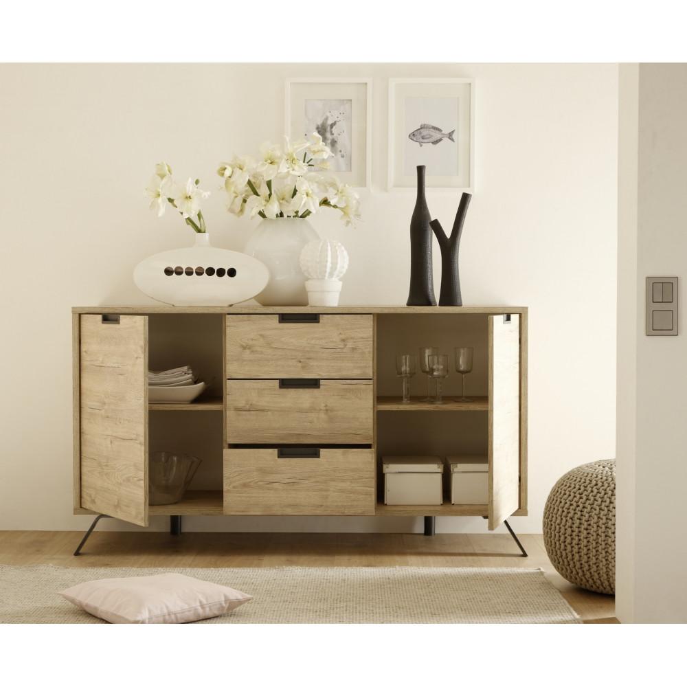 bahut bas palma 2 portes 3 tiroirs ch ne clair 4 pieds m tal. Black Bedroom Furniture Sets. Home Design Ideas