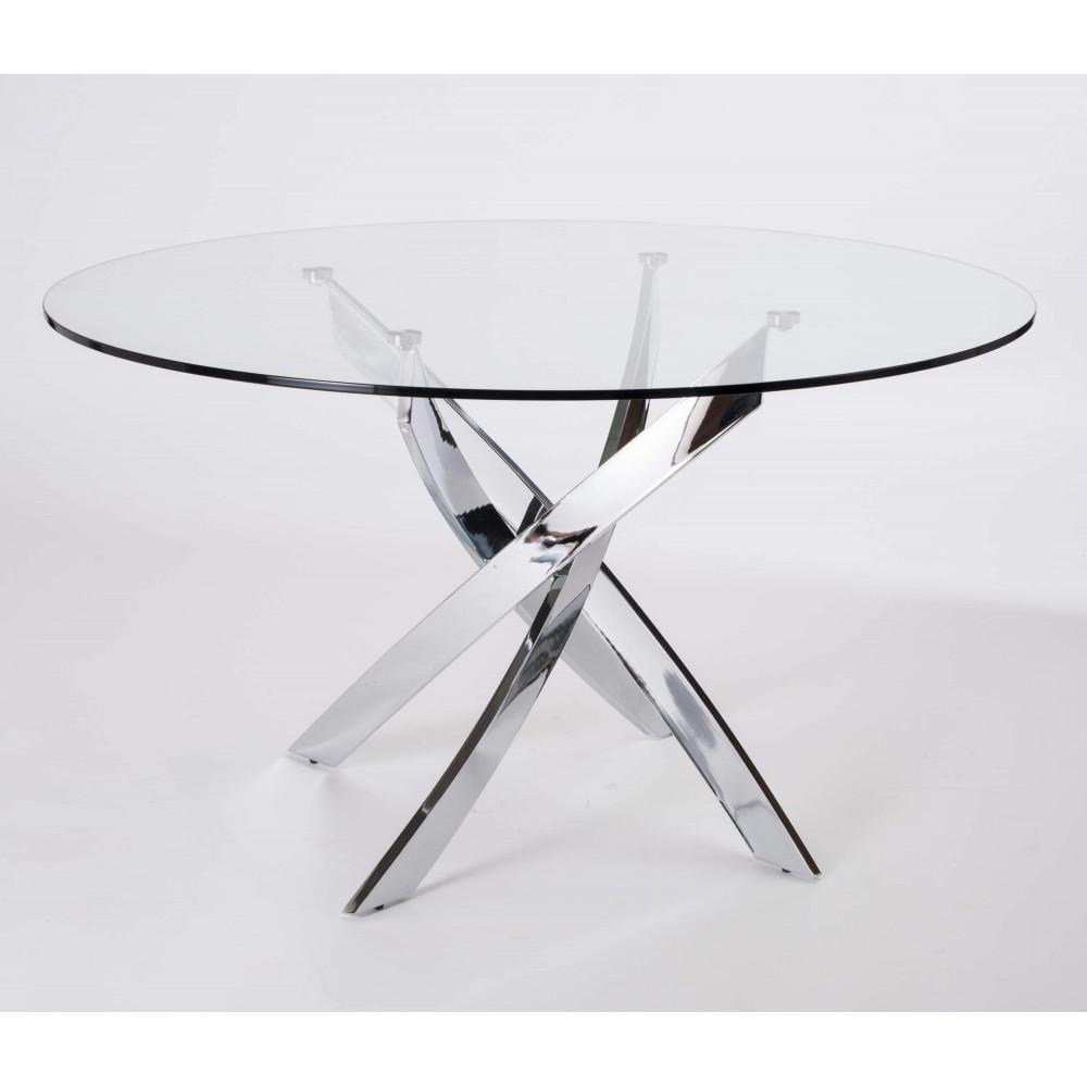 Table A Diner Ronde En Verre Jade Pied Chrome Metal Anthracite
