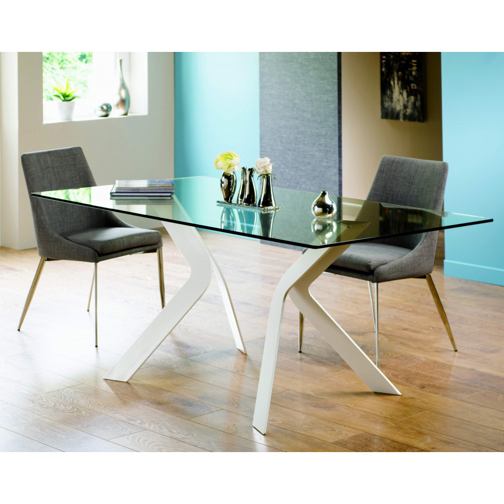 table de salle a manger tempo verre blanche l 180 cm h. Black Bedroom Furniture Sets. Home Design Ideas