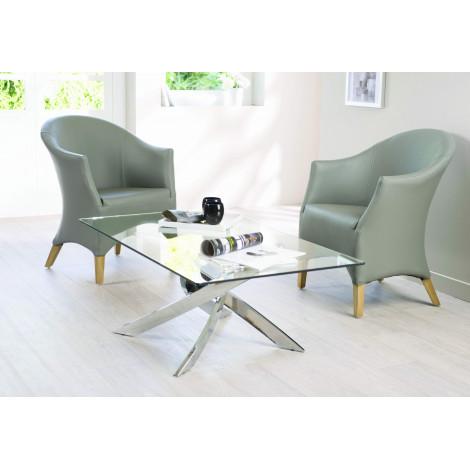 Table  Basse TEX Verre et acier chromé