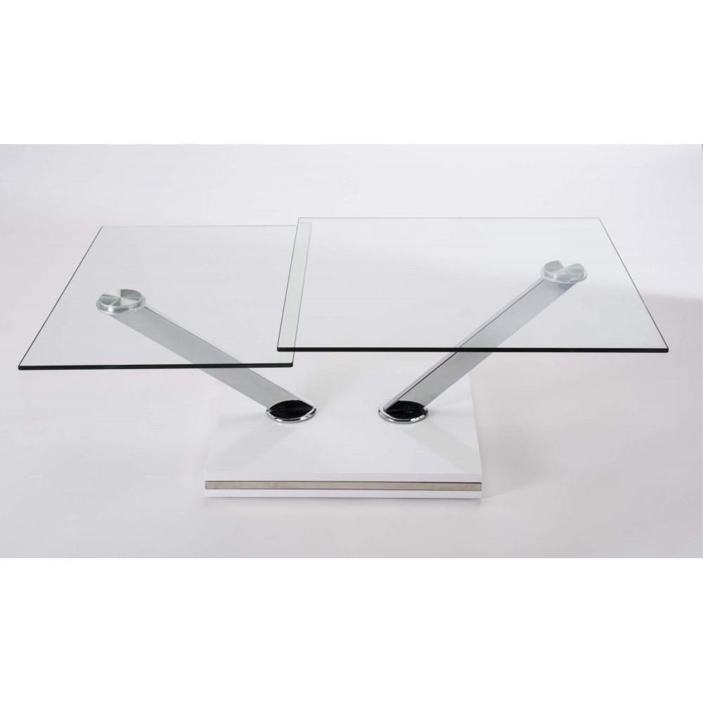 Table basse tex verre et acier chrom - Table basse verre et acier ...