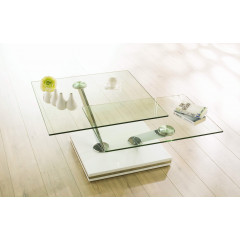 TWIN Table  Basse  verre et chrome