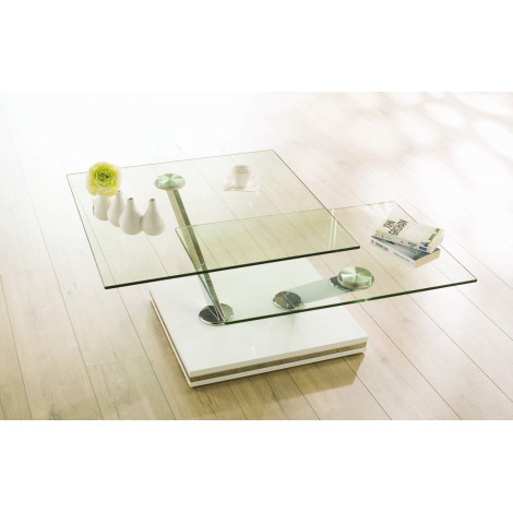 Table  Basse TWIX Verre et acier chromé