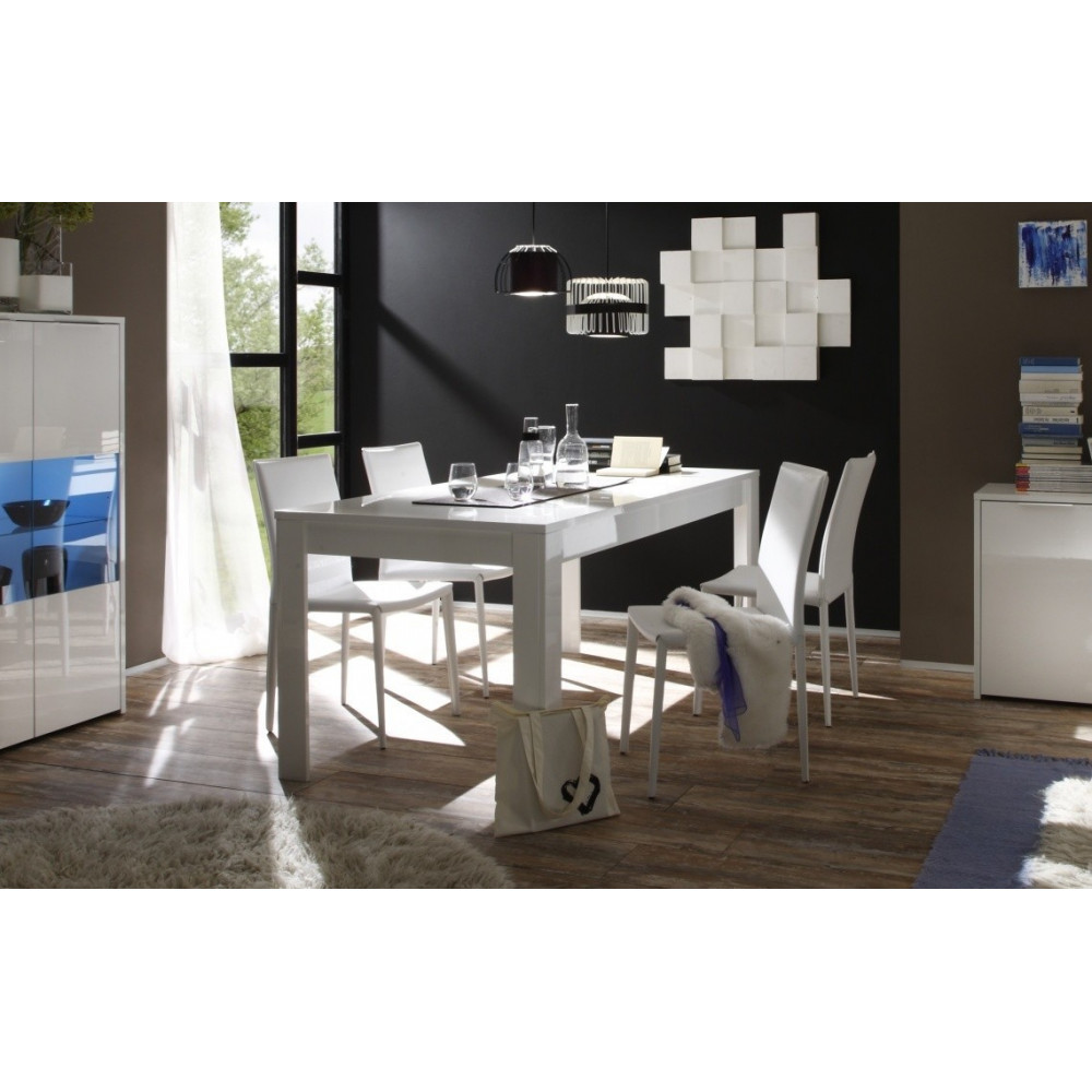 table de salle a manger moderne blanche sor diff rentes dimensions. Black Bedroom Furniture Sets. Home Design Ideas