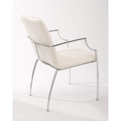 BOSTON fauteuil simili cuir blanc