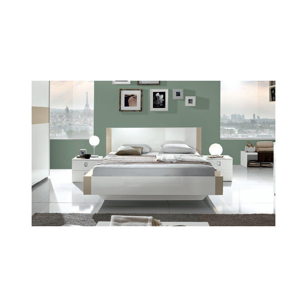 lit design lin a 160x200 beige 160x200 prix exceptionnel. Black Bedroom Furniture Sets. Home Design Ideas