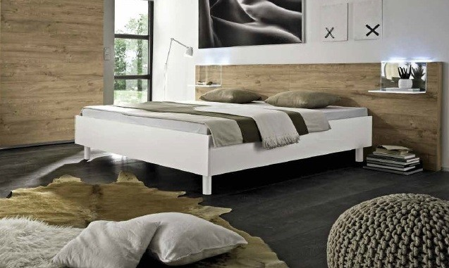 lit moderne 160x200 couleur miel prix exceptionnel. Black Bedroom Furniture Sets. Home Design Ideas