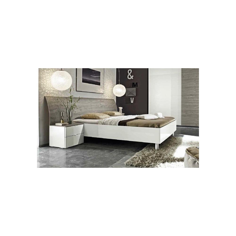 Lit Moderne Chêne Gris à Tete Galbée Longue Xprix Exceptionnel - Lit 160x200 chene gris