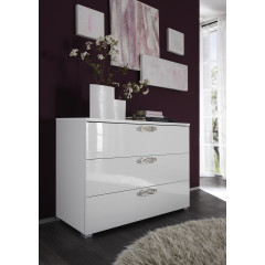 Commode laquée blanche 3 tiroirs AMBROISE