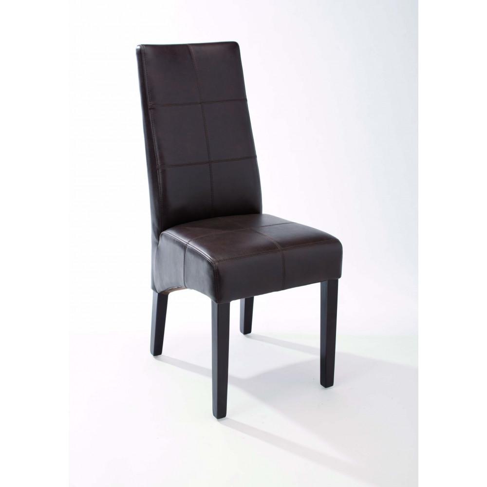 lot de 2 chaises eloise couleur caf bois exotique recouvert pu. Black Bedroom Furniture Sets. Home Design Ideas