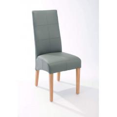 ELOISE chaise tissu gris et pied teck