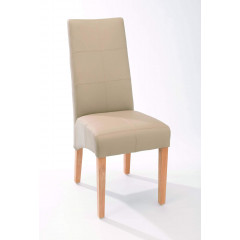 ELOISE chaise tissu beige et pied en teck