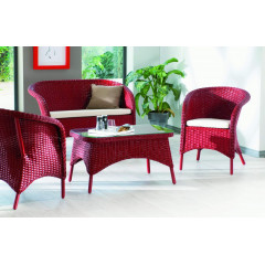 Ensemble salon rotin NÉVADA Rouge rubis