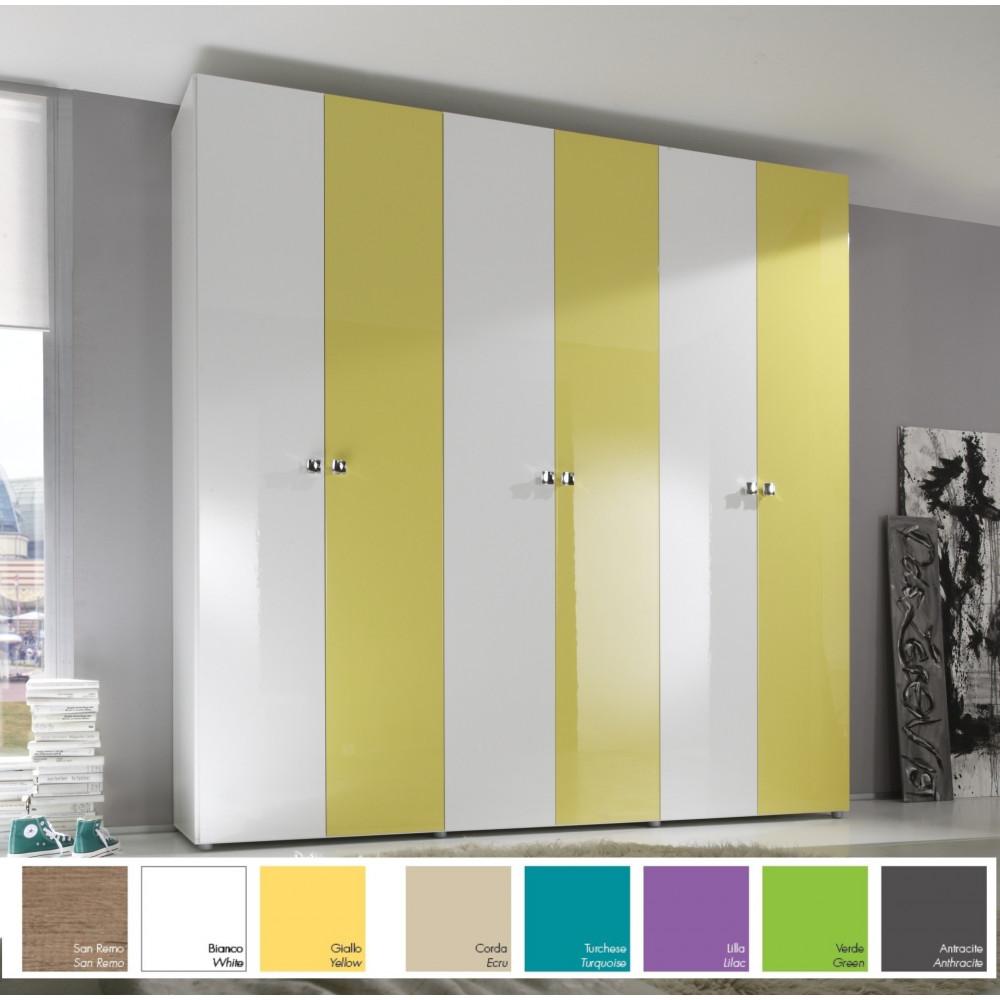Armoire moderne 6 portes 237 cm 8 couleurs prix discount - Armoire prix discount ...