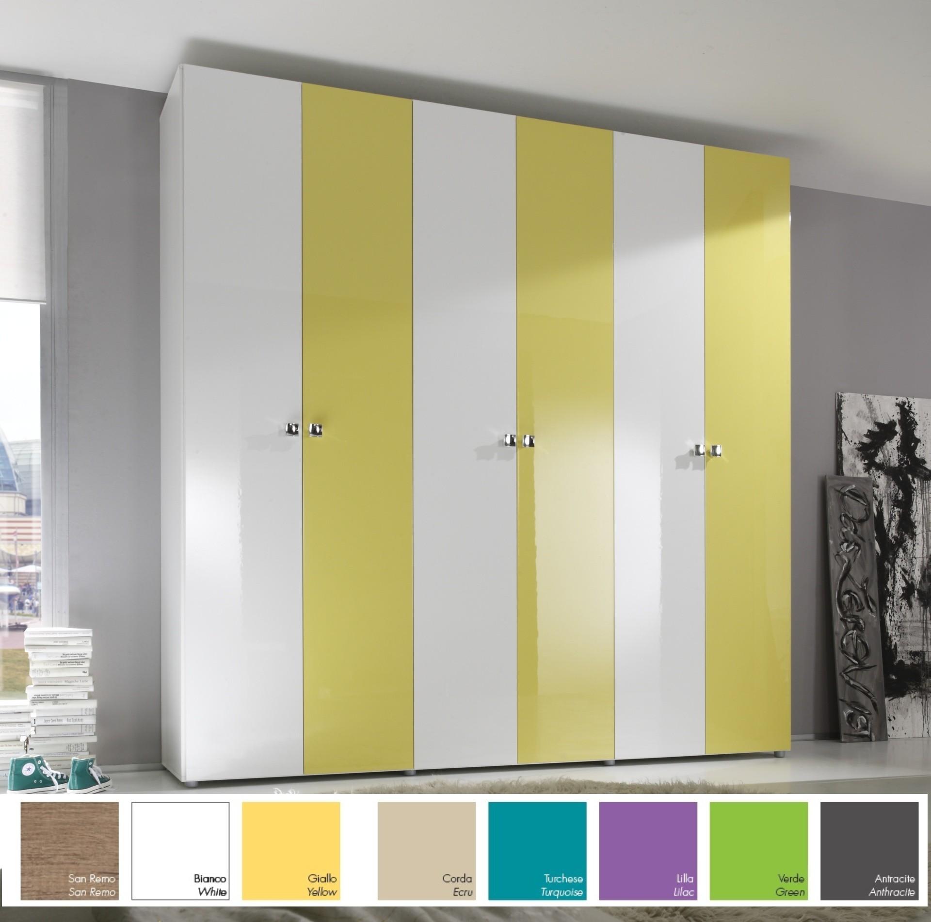 armoire moderne 6 portes 237 cm 8 couleurs prix discount. Black Bedroom Furniture Sets. Home Design Ideas