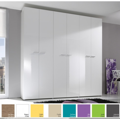 armoire design 6 portes h 214 ou 240 cm 8 couleurs prix discount. Black Bedroom Furniture Sets. Home Design Ideas