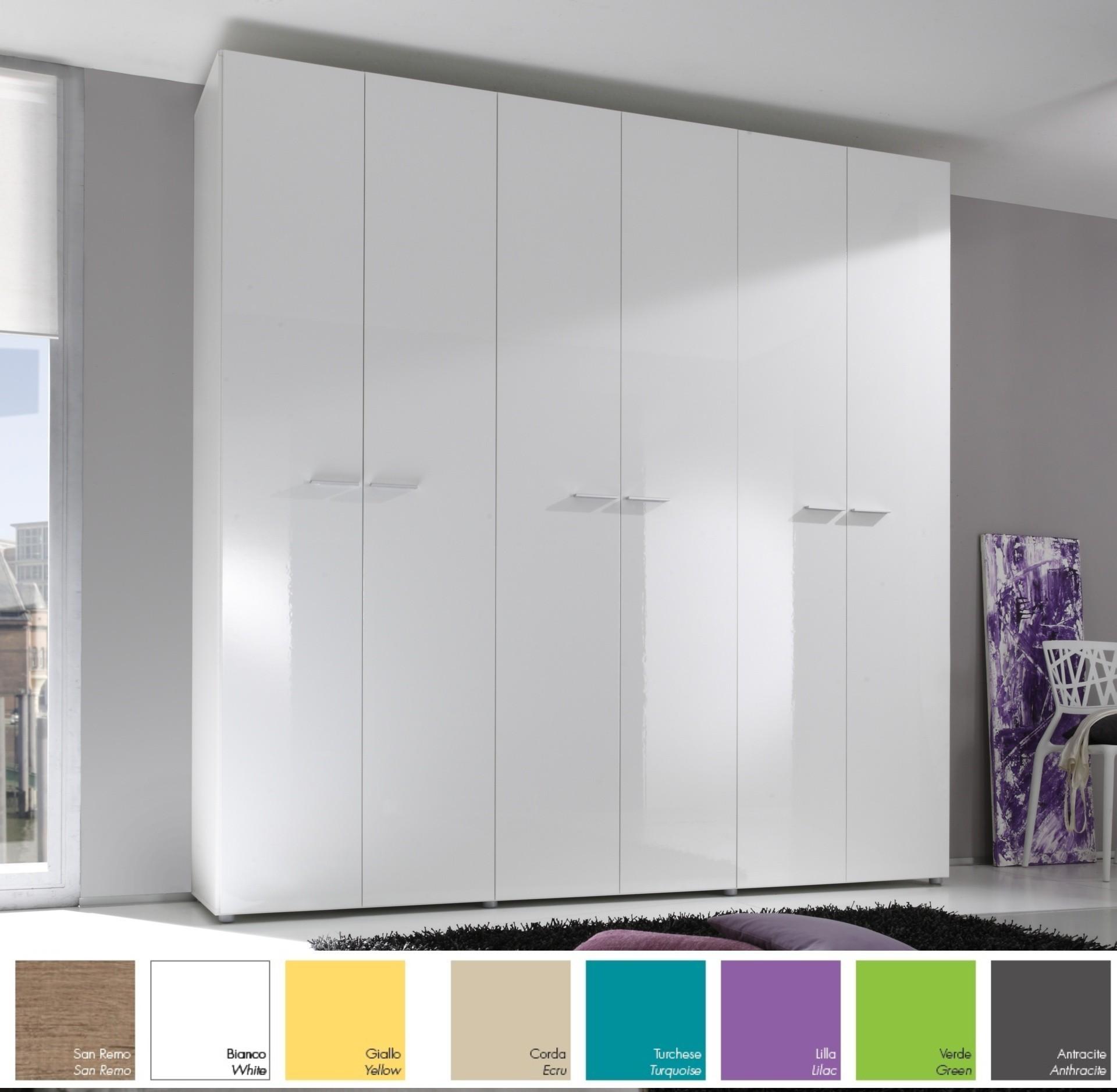 Armoire design 6 portes h 214 ou 240 cm 8 couleurs for Table 6 laille