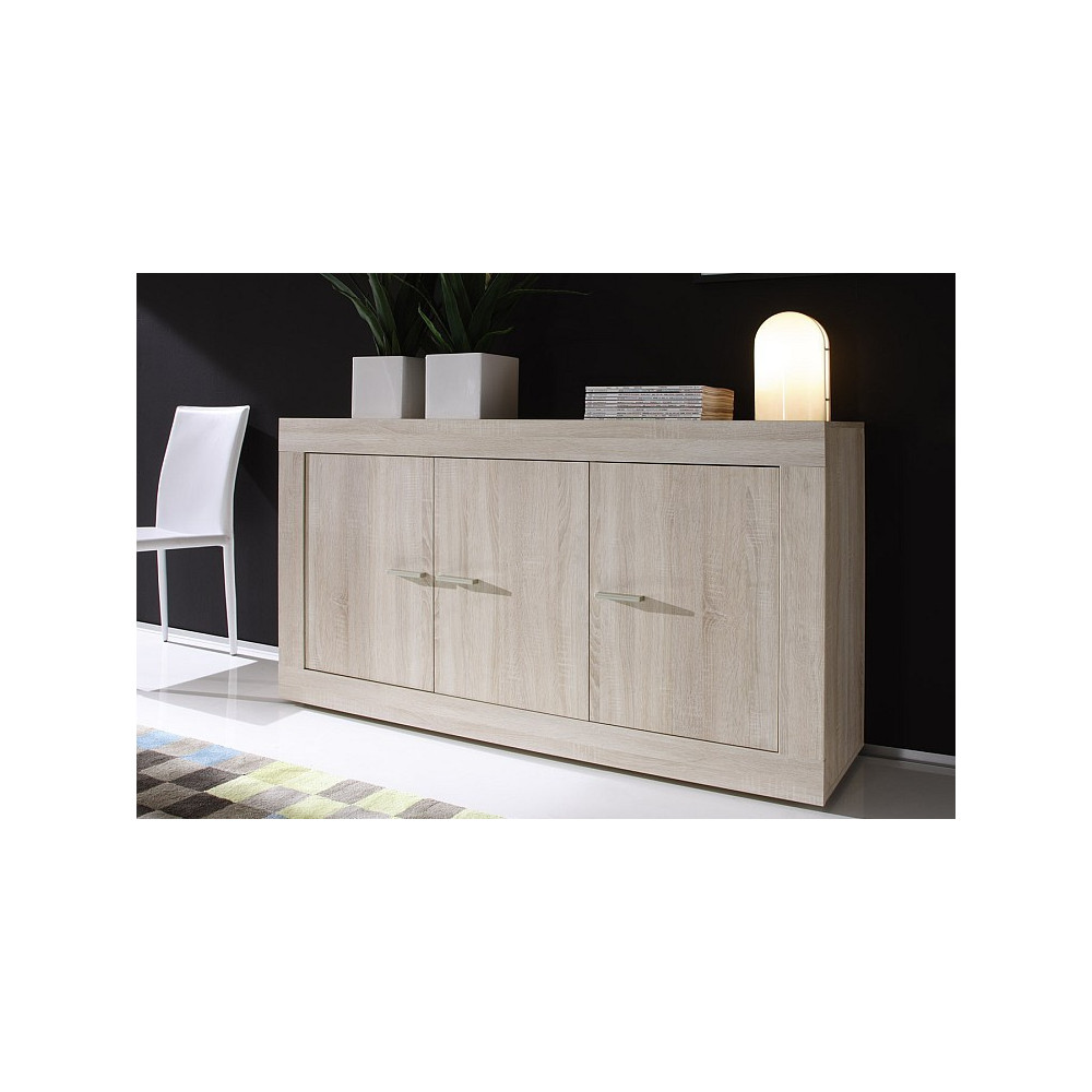 bahut bas moderne en enfilade 3 portes ch ne clair 210 cm. Black Bedroom Furniture Sets. Home Design Ideas