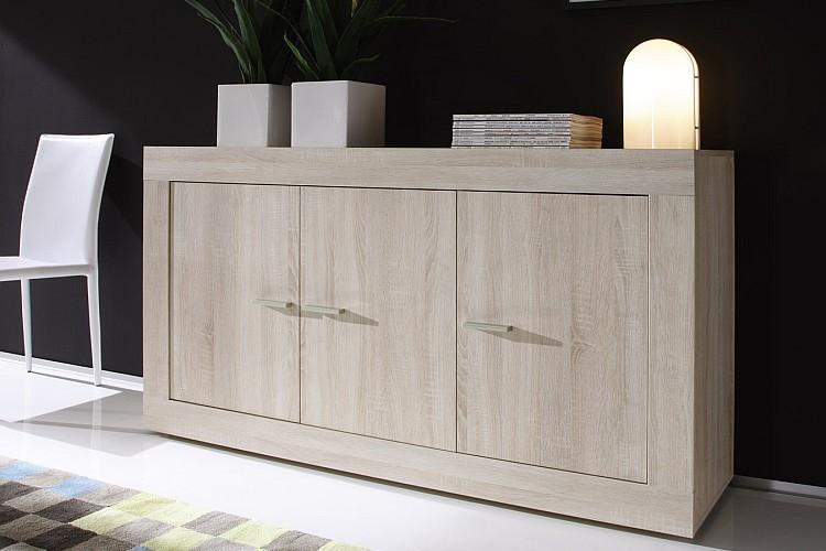bahut bas moderne en enfilade 3 portes ch ne clair 210 cm. Black Bedroom Furniture Sets. Home Design Ideas