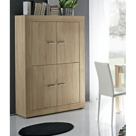 bahut haut moderne4 portes ch ne clair 210 cm. Black Bedroom Furniture Sets. Home Design Ideas