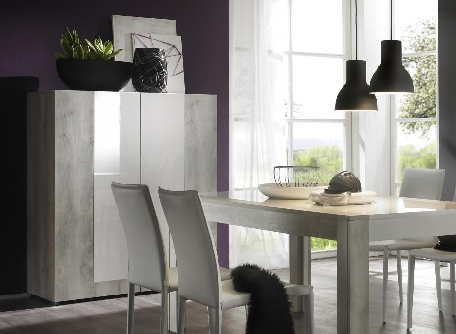 Bahut laqu blanc haut mars open meuble for Table 6 laille