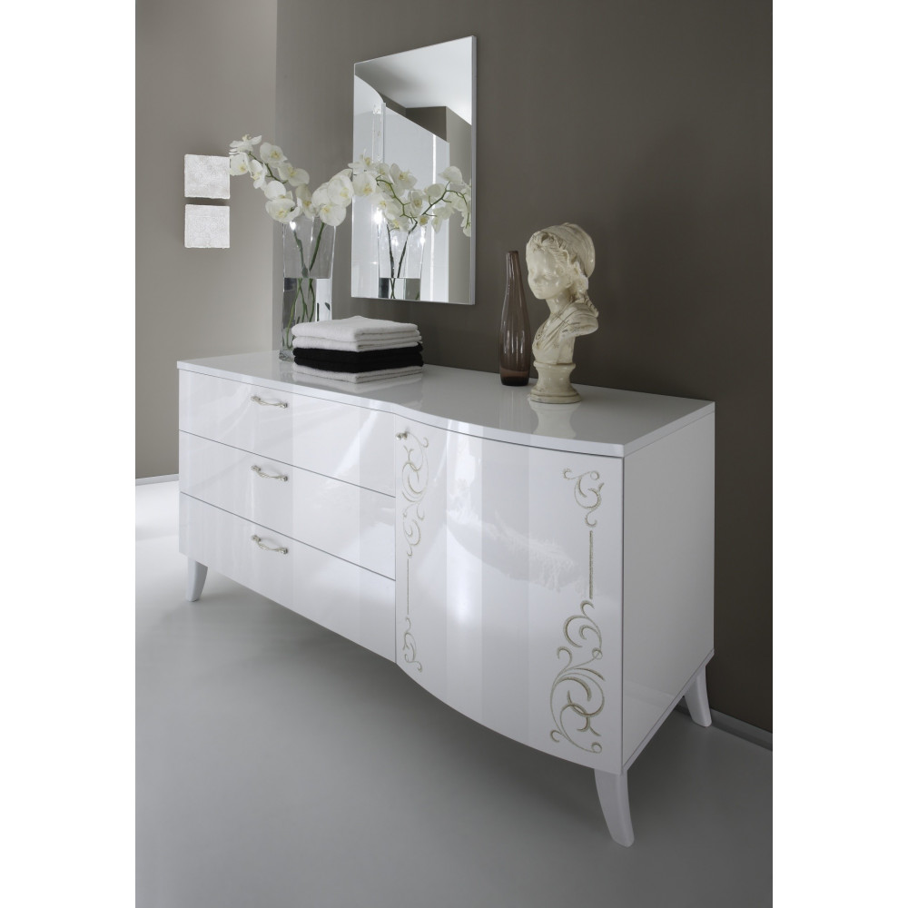 commode sebilla 180x200 laqu e blanc. Black Bedroom Furniture Sets. Home Design Ideas
