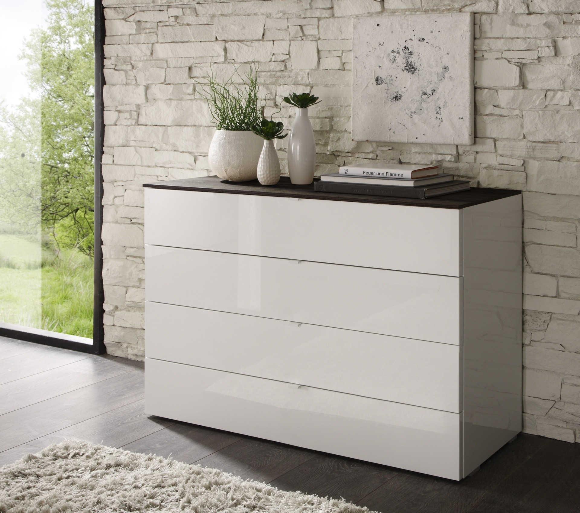 Commode tambura 4 tiroirs larges for Table 6 laille