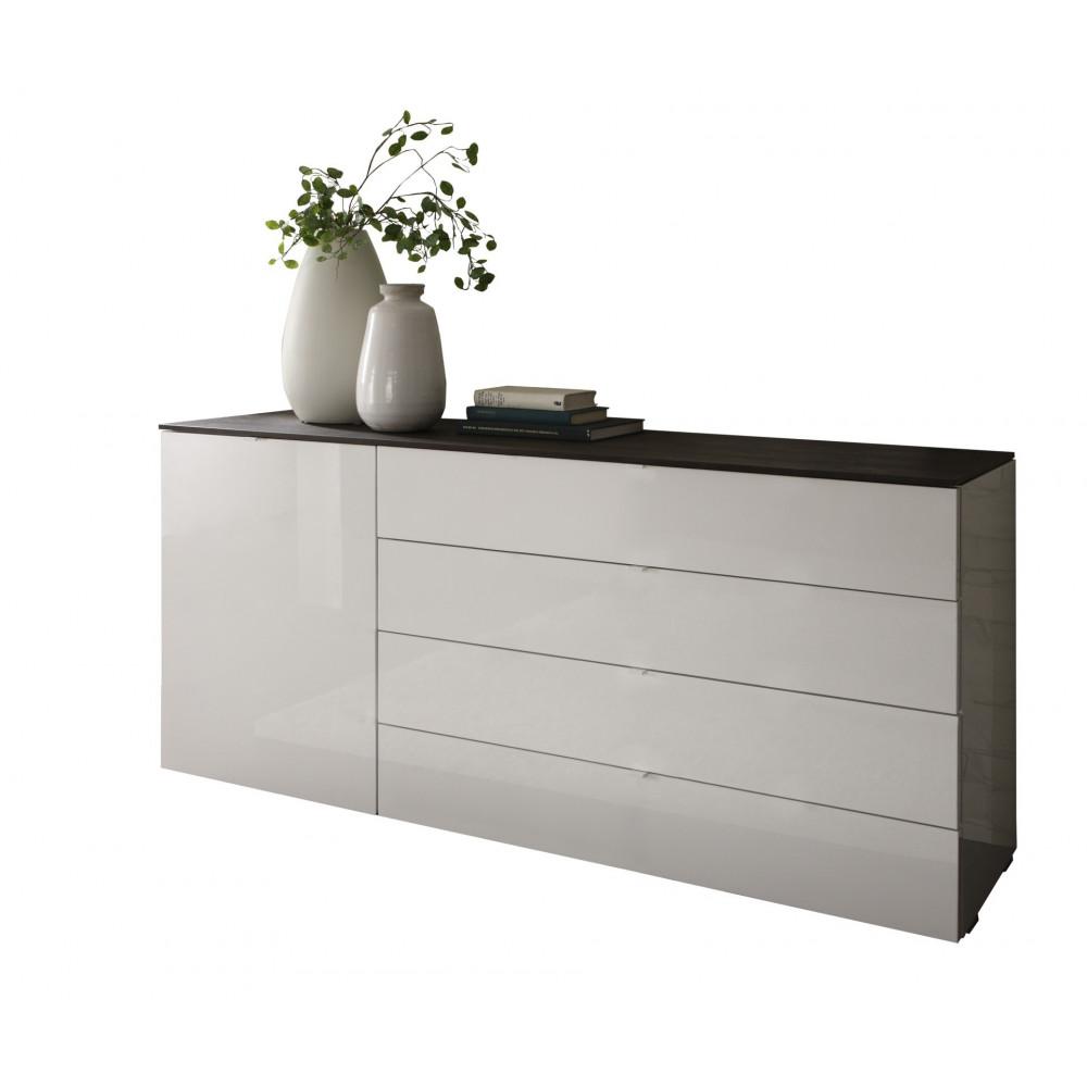 commode tambura 4 tiroirs longs et 1 porte. Black Bedroom Furniture Sets. Home Design Ideas