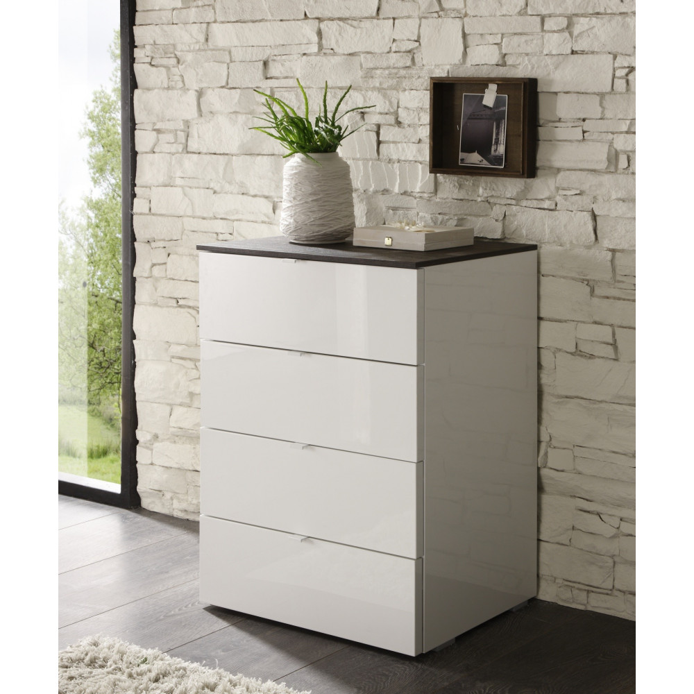 Commode tambura 4 tiroirs for Commode moderne monsieur meuble
