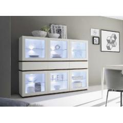 Bahut vaisselier XAR 6 portes 3 tiroirs blanc