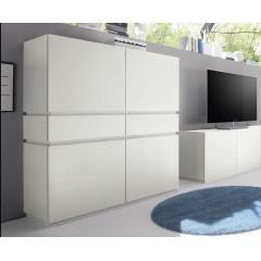 Bahut vaisselier design 2 portes 2 tiroirs 2 niches blanc