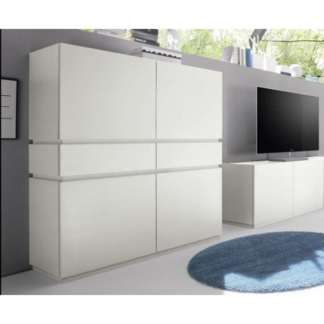 bahut vaisselier design rex 4 portes 2 tiroirs blanc. Black Bedroom Furniture Sets. Home Design Ideas