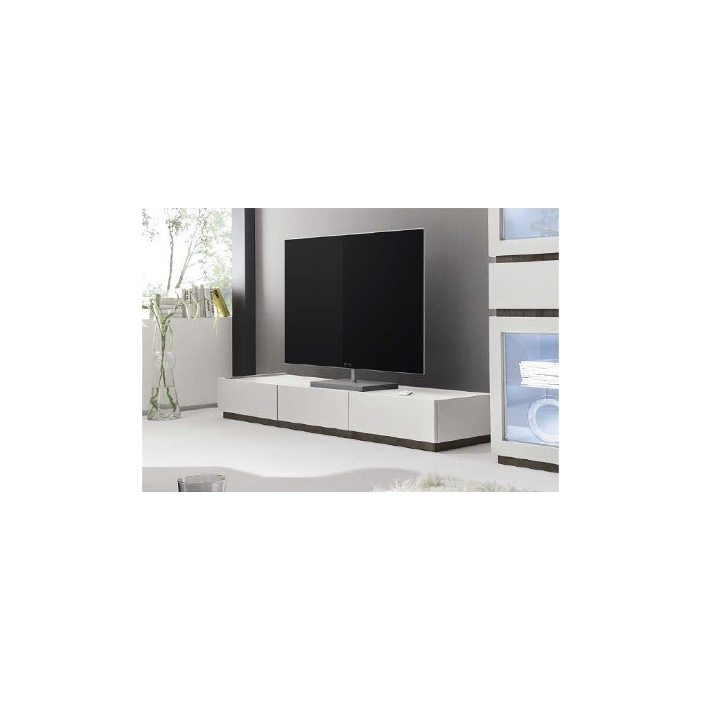 Meuble tv design 3 tiroirs blanc for Meuble blanc a tiroirs