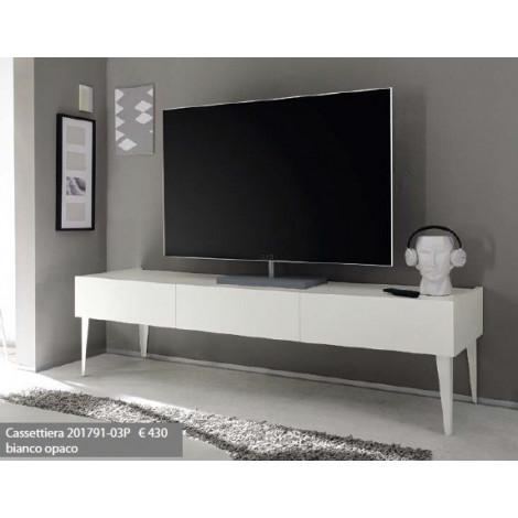 Meuble Tv Design 3 Tiroirs Blanc Sur Pieds