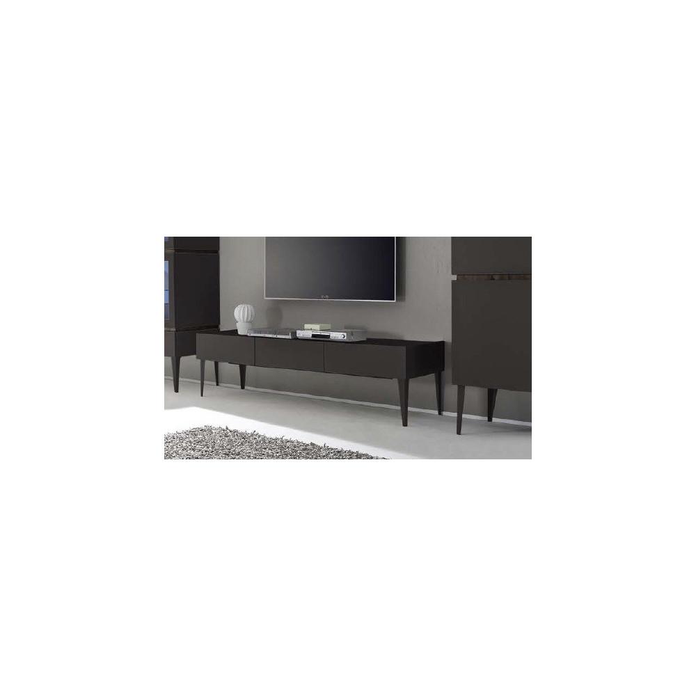 Meuble tv design xar 3 tiroirs gris mat sur pieds for Meuble tv gris design