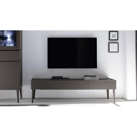 Meuble tv design xar 3 tiroirs gris mat sur pieds - Meuble tv sur pied ...