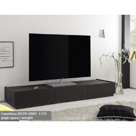 meuble tv design xar 3 tiroirs gris mat. Black Bedroom Furniture Sets. Home Design Ideas
