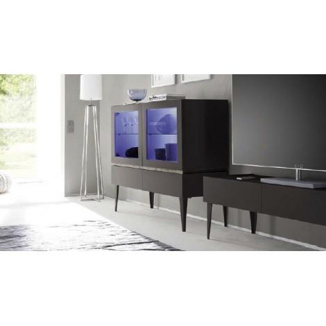 Bahut vaisselier design XAR 2 portes 2 tiroirs Gris Mat