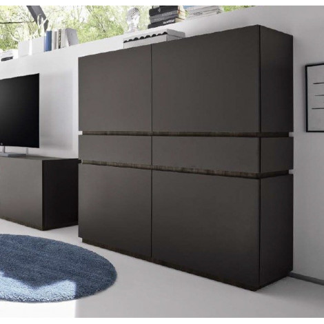 bahut vaisselier design xar 4 portes 2 tiroirs gris mat. Black Bedroom Furniture Sets. Home Design Ideas