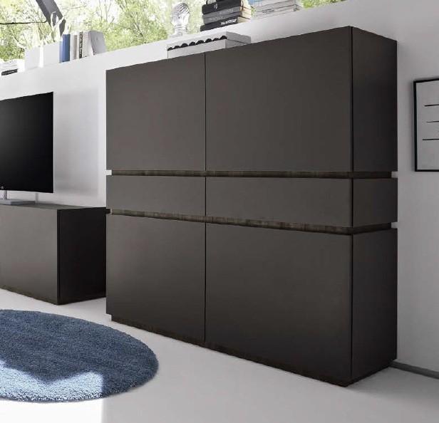 Bahut vaisselier design xar 4 portes 2 tiroirs gris mat - Meuble vaisselier design ...