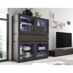 Bahut vaisselier design XAR 4 portes 4 tiroirs Gris Mat