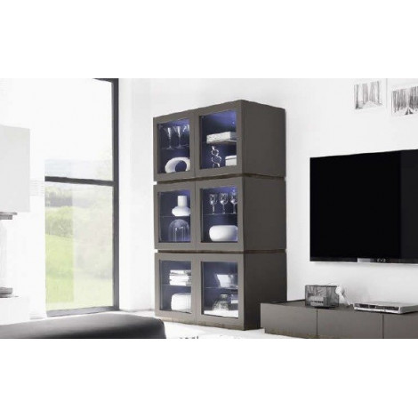 bahut vaisselier design xar 6 portes vitr es. Black Bedroom Furniture Sets. Home Design Ideas