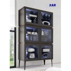 Bahut vaisselier design XAR 6 portes vitrées sur pieds