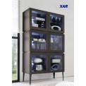 Bahut vaisselier design XAR 3 portes 3 tiroirs gris mat
